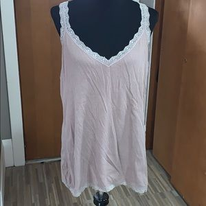 Old navy taupe rib knit lace tunic tank